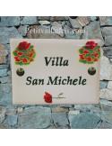 plaque de maison céramique décor coquelicots inscription horizontale verte