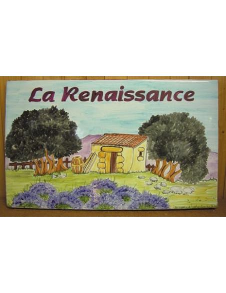 Plaque de Maison rectangle en céramique émaillée décor artisanal motif paysage cabanon,oliviers et lavandes + personnalisation