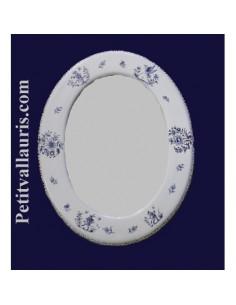 Miroir ovale décor Tradition Vieux Moustiers bleu