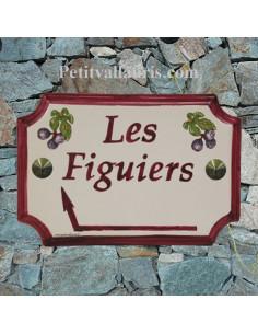 Plaque de Maison rectangle décor figues inscription personnalisée et bord couleur prune