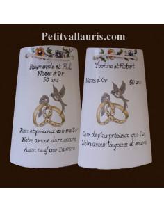 Tuile murale ceramique avec personnalisation pour souvenir anniversaire de mariage