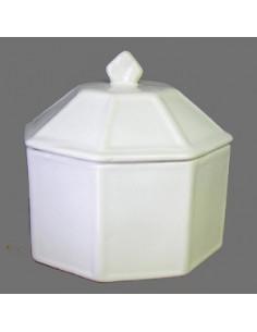 Boîte bonbonnière octogonale émaillée blanc unie