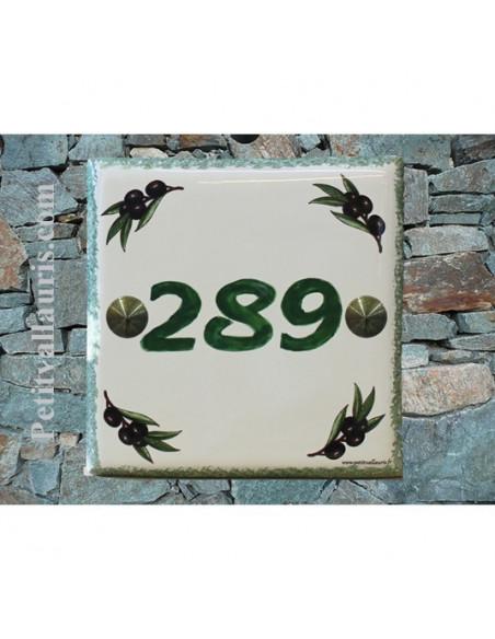 Plaque numéro de maison en faience émaillée motifs brins d'olive + chiffre personnalisé vert