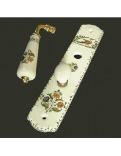 Plaque de propreté avec verrou décor Tradition Vieux Moustiers polychrome