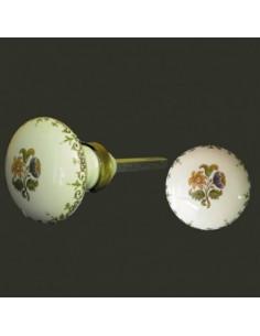 bouton poign e de porte et placard ronde en porcelaine d cor bouquet de fleurs roses diam tre. Black Bedroom Furniture Sets. Home Design Ideas