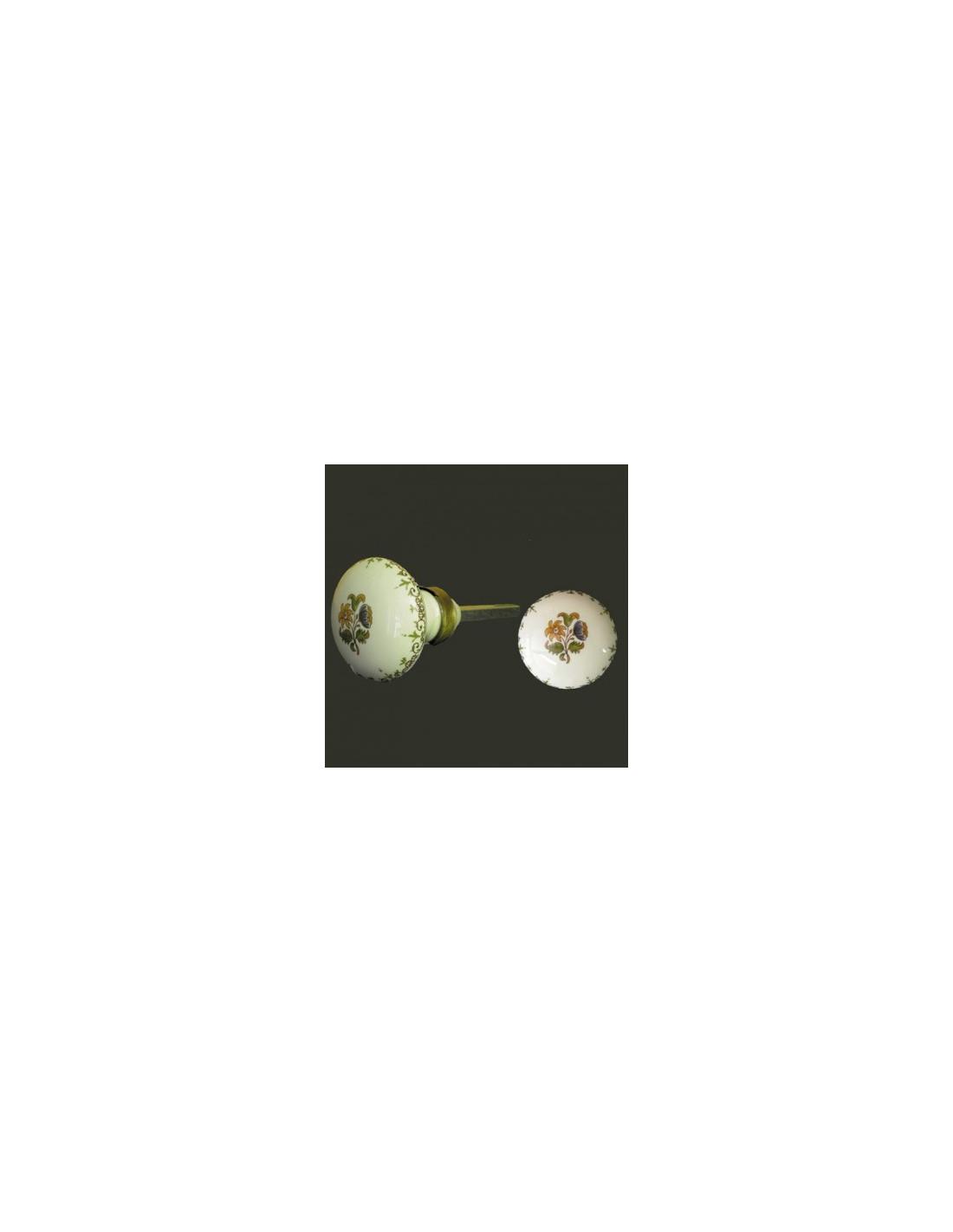 bouton poign e de porte et placard ronde en porcelaine d cor bouquet de fleurs polychrome. Black Bedroom Furniture Sets. Home Design Ideas