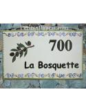 Plaque de Villa rectangle décor personnalisé frise et branche d'olivier inscription personnalisée noire