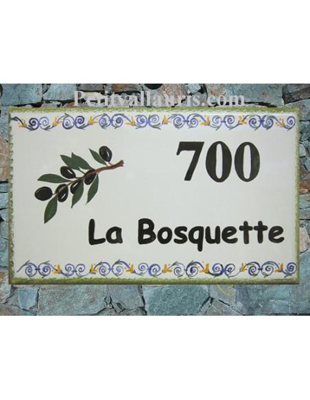 Plaque de Maison rectangle en céramique émaillée décor artisanal motif frise et branche d'olivier + personnalisation