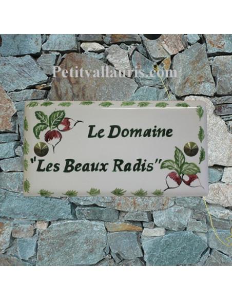 Plaque de maison faience émaillée décor les radis inscription personnalisée verte