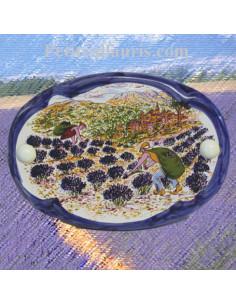 Plaque de porte ovale sans inscription motif récolte des lavandes bord bleu