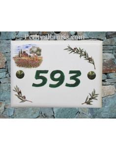 plaque de maison céramique décor bastide provençale et brins d'olivier marquage personnalisé vert