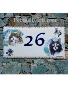 Plaque de maison faience émaillée décor Chat 3 et Chat 5 frise moustiers et texte bleu