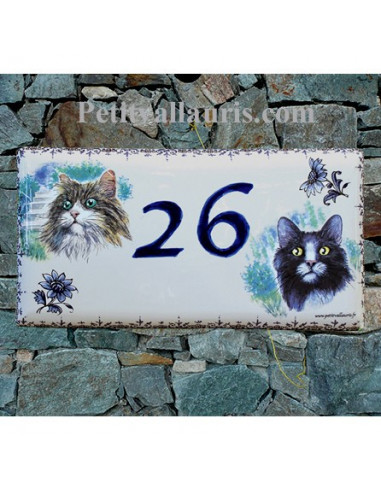 plaque de maison faience maill e d cor chat 3 et chat 5 frise moustiers et texte bleu le. Black Bedroom Furniture Sets. Home Design Ideas