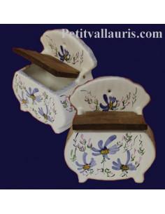 Boîte à sel décor Fleuri bleu