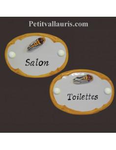 Plaque de porte en faience blanche modèle ovale avec petite et cigale en relief et bord orangé + inscription personnalisée