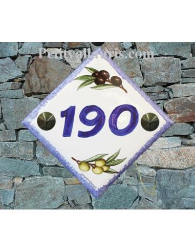 Numéro de maison décor brins d'olives vertes et noires chiffre et bord bleu pose diagonale