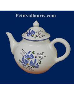 Théière en céramique décor artisanal fleurs bleues