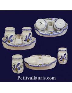 Ensemble salière et poivrière en faïence décor Fleur bleu