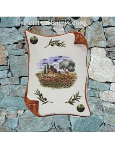 Plaque décorative parchemin pose verticale décor cabanon et olivier bord ocre