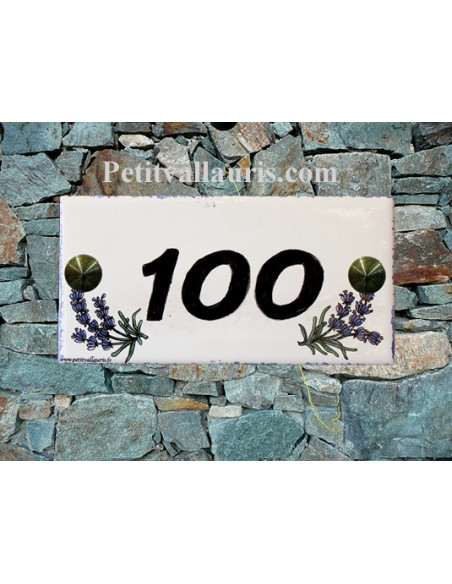 Plaque chiffre de maison faience émaillée motif brins de lavande + inscription personnalisée noire