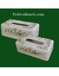 Boîte à mouchoirs papier en faience décor Fleurs vertes et orangés