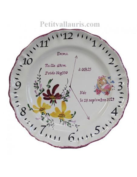 Assiette de naissance personnalisée en faience décor Fleur pourpre et orange clair