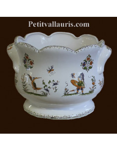 Cache pot festonné anse décor Tradition Vieux Moustiers polychrome