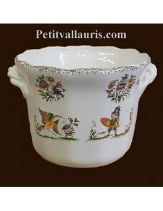 Cache pot droit anse moyen modèle décor Tradition Vieux Moustiers polychrome