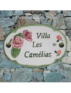 Plaque pour nom de maison ovale en céramique décor fleurs camélias