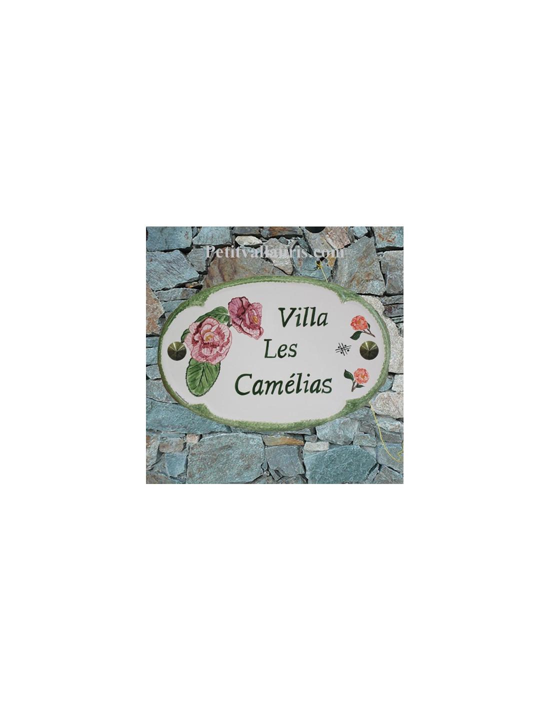 plaque pour nom de maison ovale en c ramique d cor fleurs. Black Bedroom Furniture Sets. Home Design Ideas