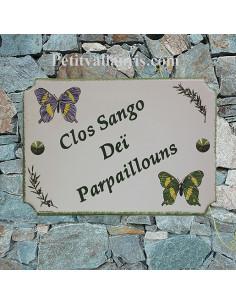 Plaque décorative pour votre pavillon de style en céramique décor Papillons