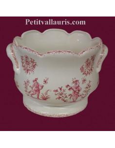 Cache pot festonné anse décor Tradition Vieux Moustiers rose