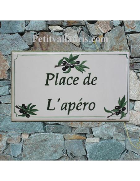 Plaque de Maison rectangle en céramique émaillée décor artisanal motif branches d'olives noires + inscription personnalisée
