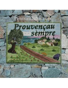 plaque de maison céramique personnalisée décor paysage provençal inscription couleur verte