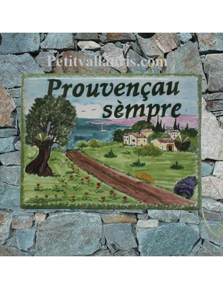 plaque de maison céramique décor paysage provençal inscription personnalisée couleur verte
