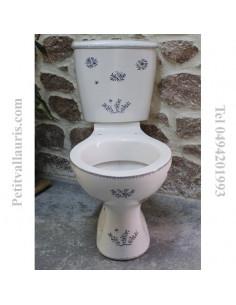 Toilettes-WC décor fleurs Tradition Vieux Moustiers bleu