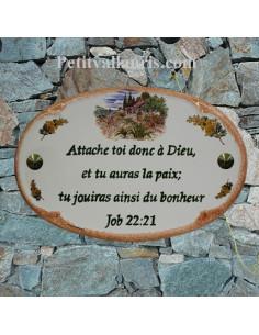 Plaque pour maison ovale décor Cabanon et brins de mimosas bord ocre inscription verte