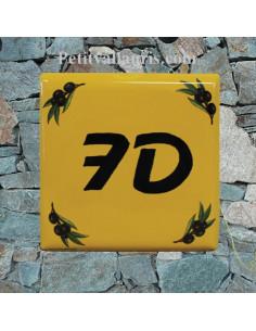 Numéro de Maison pose horizontale décor olives noires fond jaune provençal chiffre noir