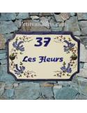 Plaque de Maison rectangle décor fleurs bleues inscription personnalisée bleue