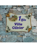 Plaque de Maison parchemin décor cabanon et olivier inscription personnalisée bleue bord ocre