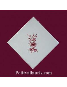 Carreau petite fleur rose décor Tradition Vieux Moustiers pose diagonale