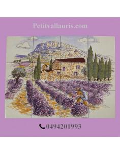 Fresque murale céramique décor champs de lavande 30 x 40 cm