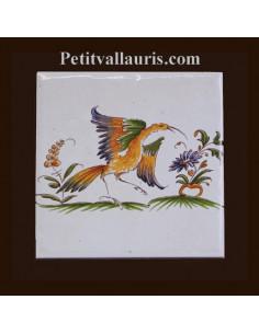 Carreau décor 2214 polychrome Tradition Vieux Moustiers