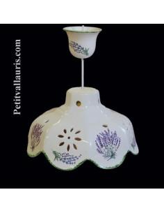 Suspension facette en céramique décor Bouquet de lavande