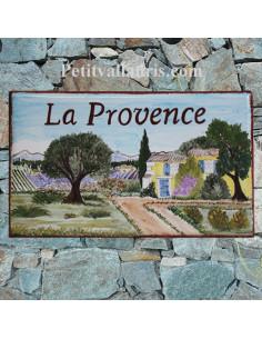 Plaque de Maison rectangle décor personnalisé paysage provençal inscription personnalisée pourpre