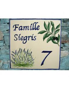 Plaque texte et décor personnalisé pour votre maison décor olives et lavandes