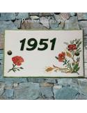 Plaque pour maison en faïence décor bouquet fleurs-coquelicots