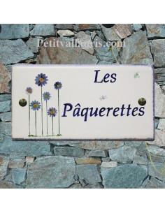 Plaque de Maison rectangle décor naif paquerettes bord et texte bleu