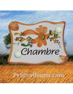 Plaque de porte parchemin fleurs et bord orange inscription Chambre