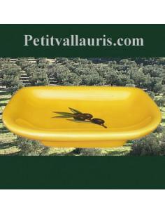 Porte savon modèle Annie fond jaune provençal décor olives noires